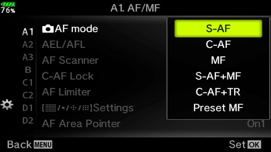 AF Mode Camera Menu