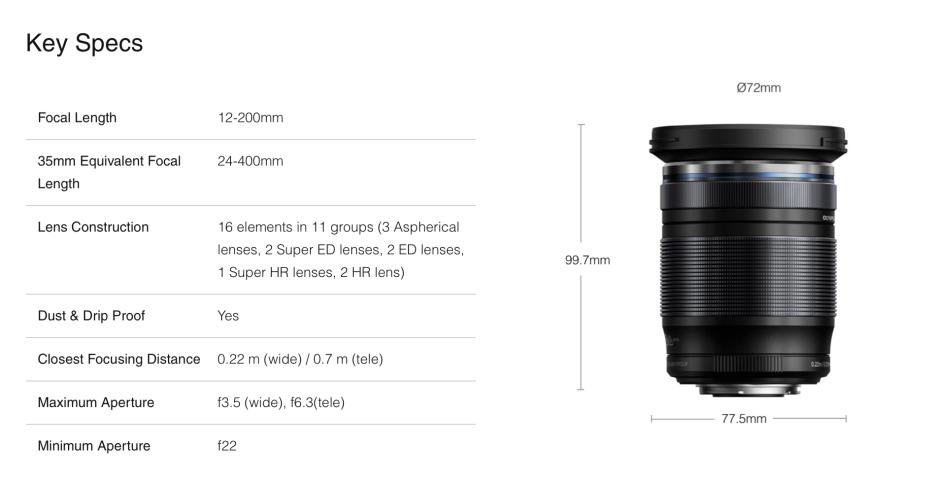 Olympus 12-200 zoom lens