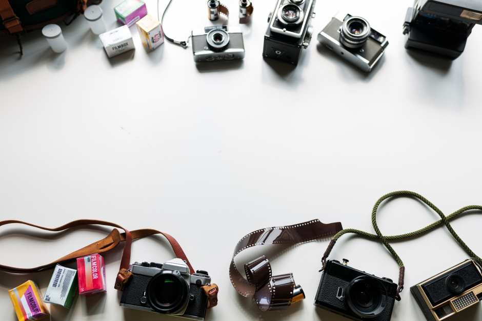 Aerial view of retro film camera collection